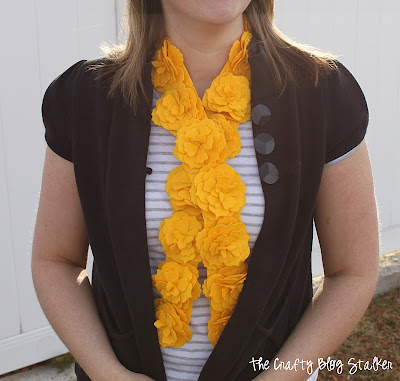 Yellow Felt Flower Scarf