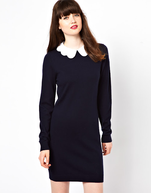 jaeger navy dress with white collar