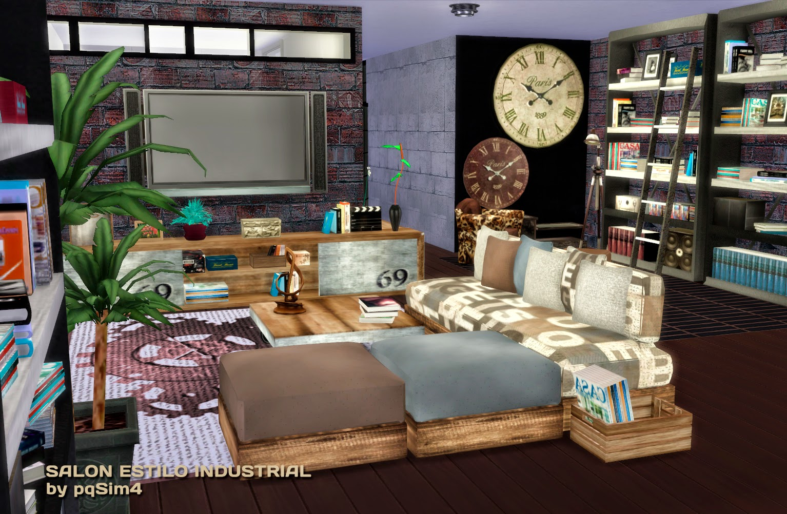 Sims 4 sal n estilo industrial for Salon moderne sims 4