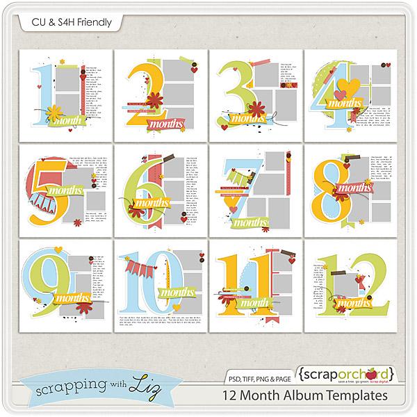 http://scraporchard.com/market/12-Month-Album-Digital-Scrapbook-Templates.html