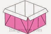 Bước 19: Hoàn thành cách xếp hộp giấy có nắp đậy đơn giản.