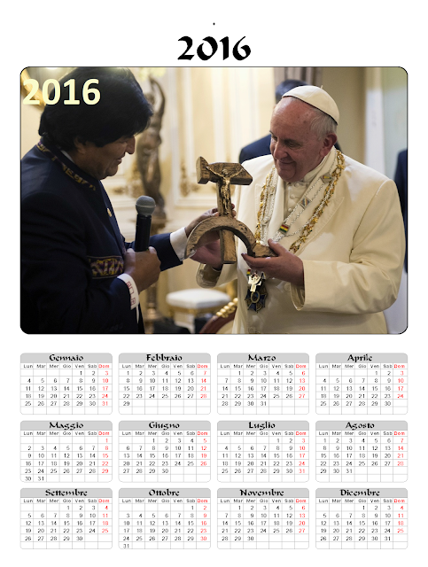 Calendario 2016 - Papa Francesco - falce martello
