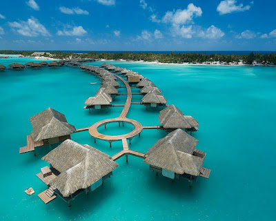Four Seasons Hotel Bora Bora Full HD Beach Water Nature Background Wallpapers Widescreen