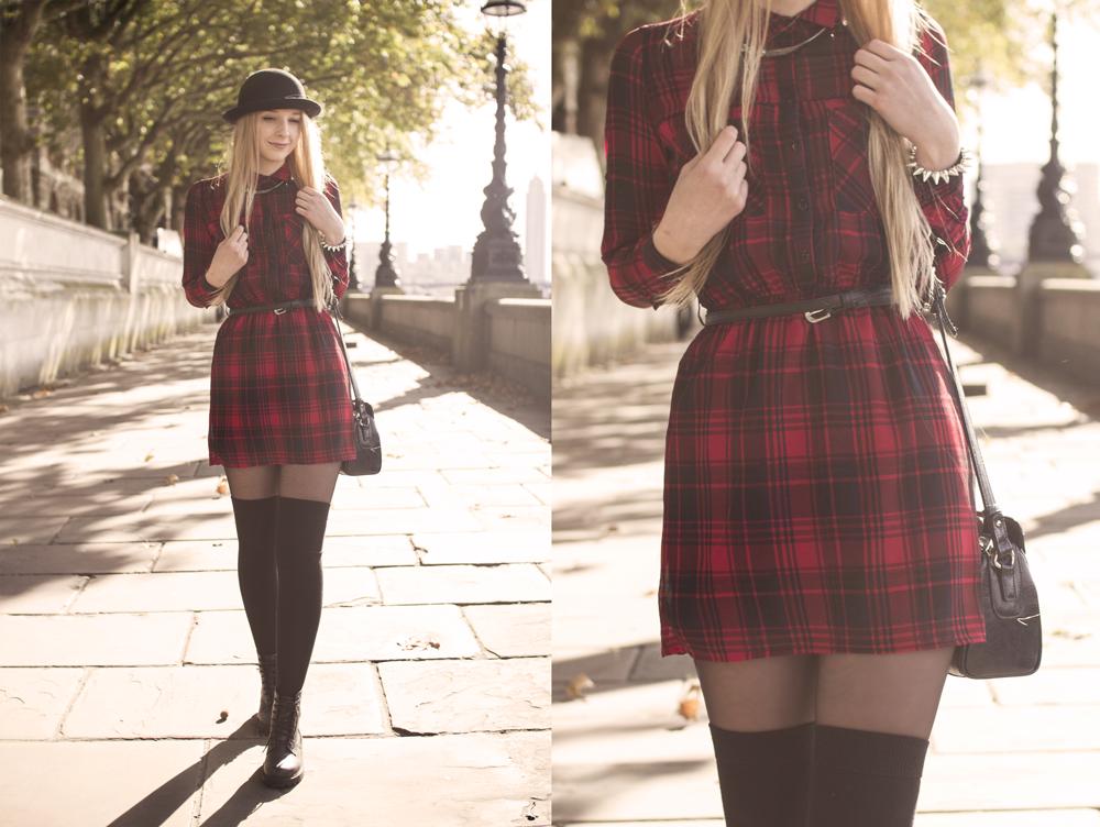 sukienka w kratkę tunika house 2014 na blogu modowym Londyn kapelusz