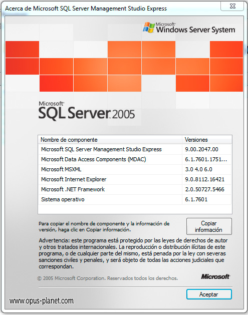 Opus Planet Base de datos SQL
