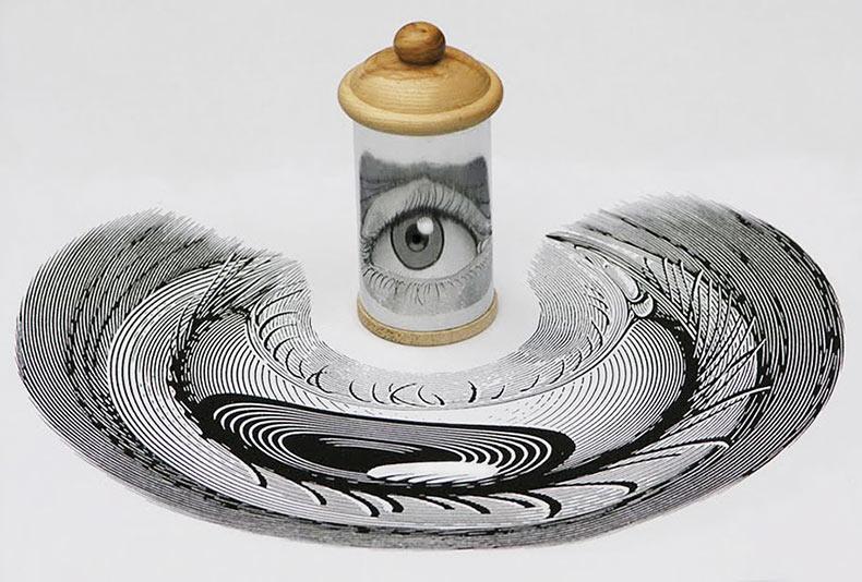 Increíbles obras anamórficas que necesitan un cilindro espejo para revelar su belleza