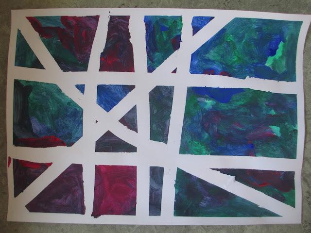 Zeichnen Malen im Kindergarten mit Ankleben