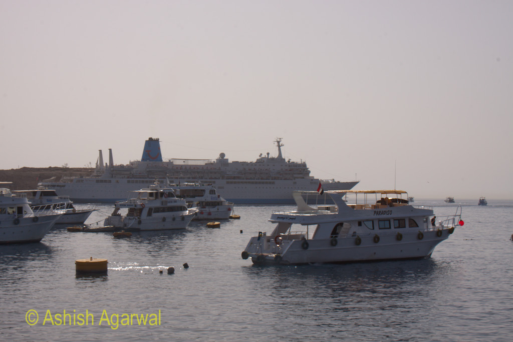 Large number of ships at the harbour of Sharm el Sheikh at the Red Sea in Egypt