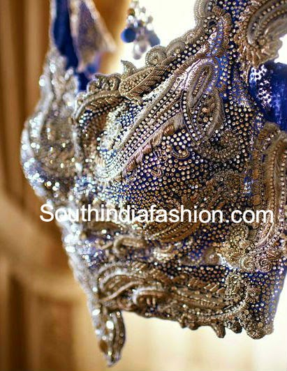heavy work bridal saree blouse