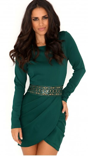 Siran Cut Out Sequin Dress With Tulip Skirt In Deep Green Wild-Society