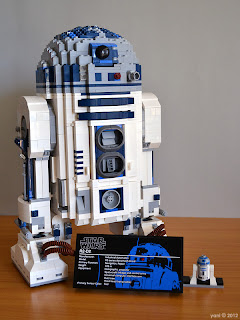 lego r2d2 - the finished model complete with fact plaque and mini-r2