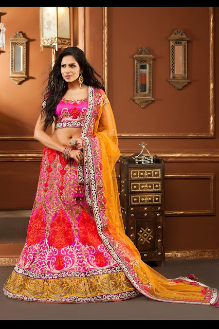 Elegant and Vibrant Color Combinations Stylish Designer Lahenga