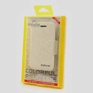 Wallston Filament Grain Leather Case Wallet with Card Slot for BlackBerry Q5 - White