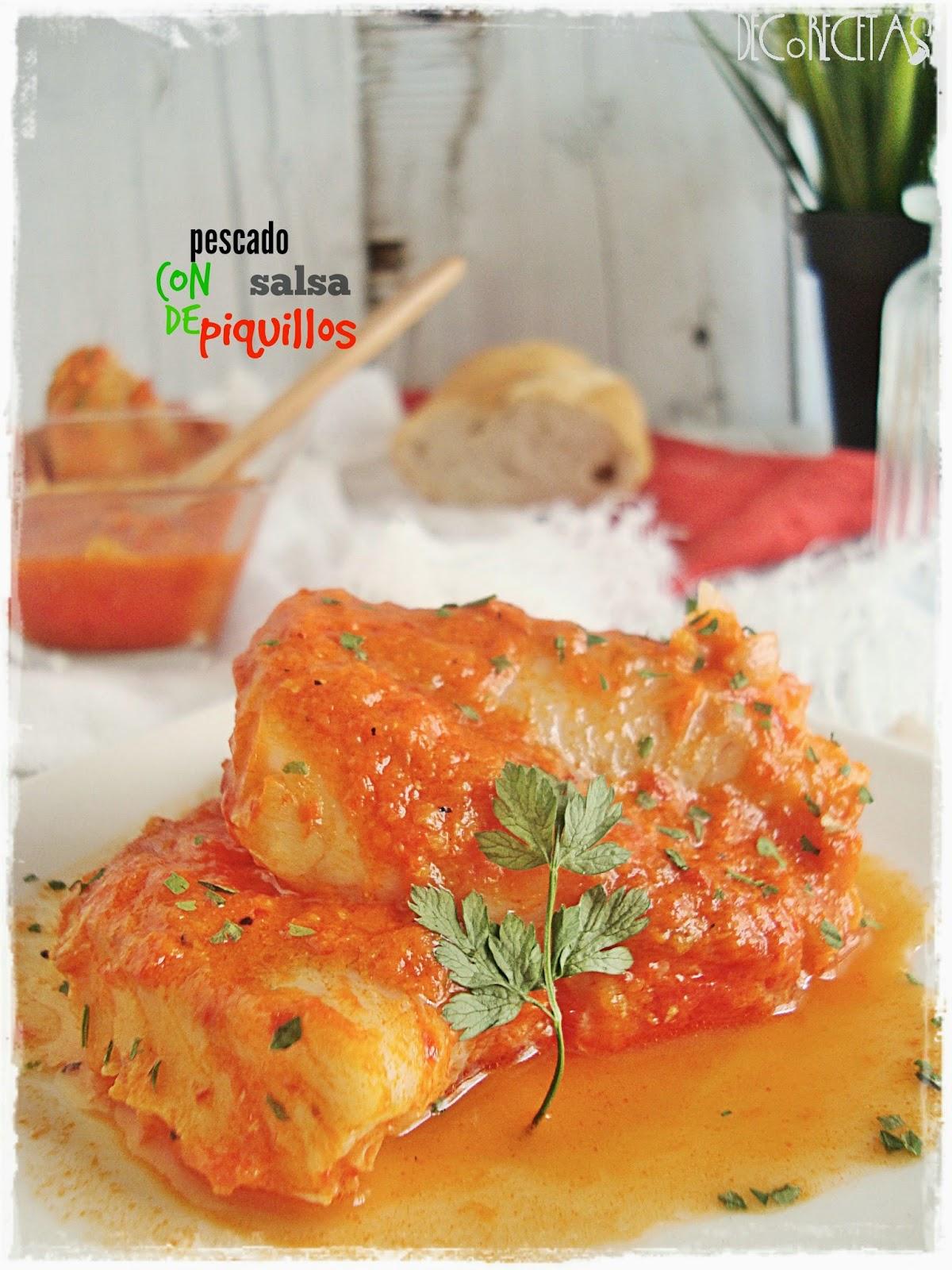 pescado con salsa de piquillos