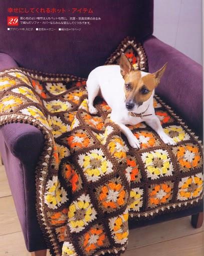 Plaid tejido crochet con grannys