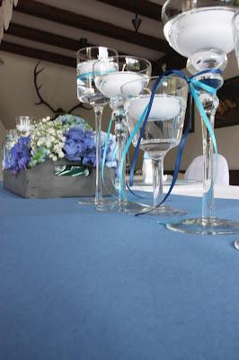Tischdekoration in Blautönen - Hochzeit am Riessersee