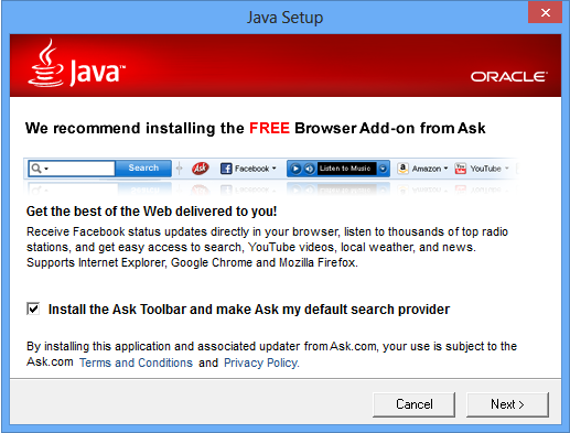 Ask Toolbar installer