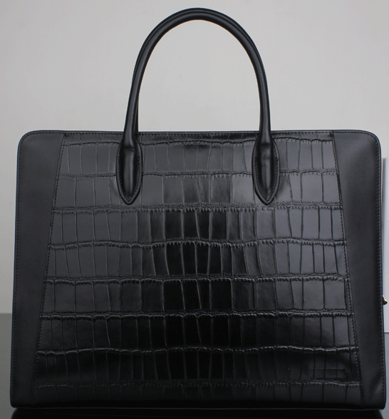 Crocodile 2-Tone Black Genuine Leather Casual Upscale Briefcase