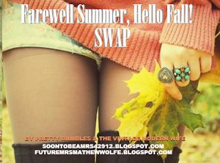 "Come join The Vintage Modern Wife & Pretty Rambles for the ""Farewell Summer, Hello Fall!"" Swap. http://tinyurl.com/farewellsummerhellofallswap"