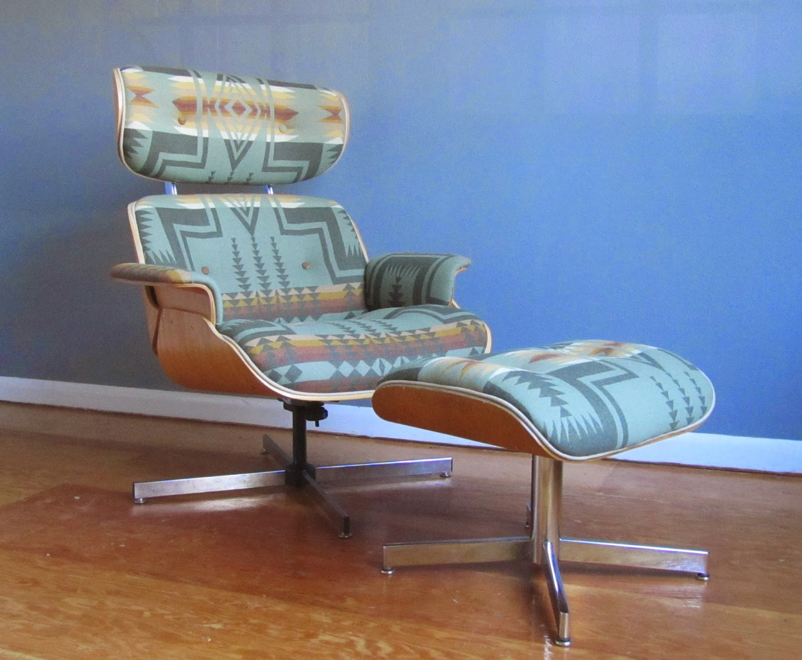 remnant upholstered eames style lounge chair in pendleton wool. Black Bedroom Furniture Sets. Home Design Ideas