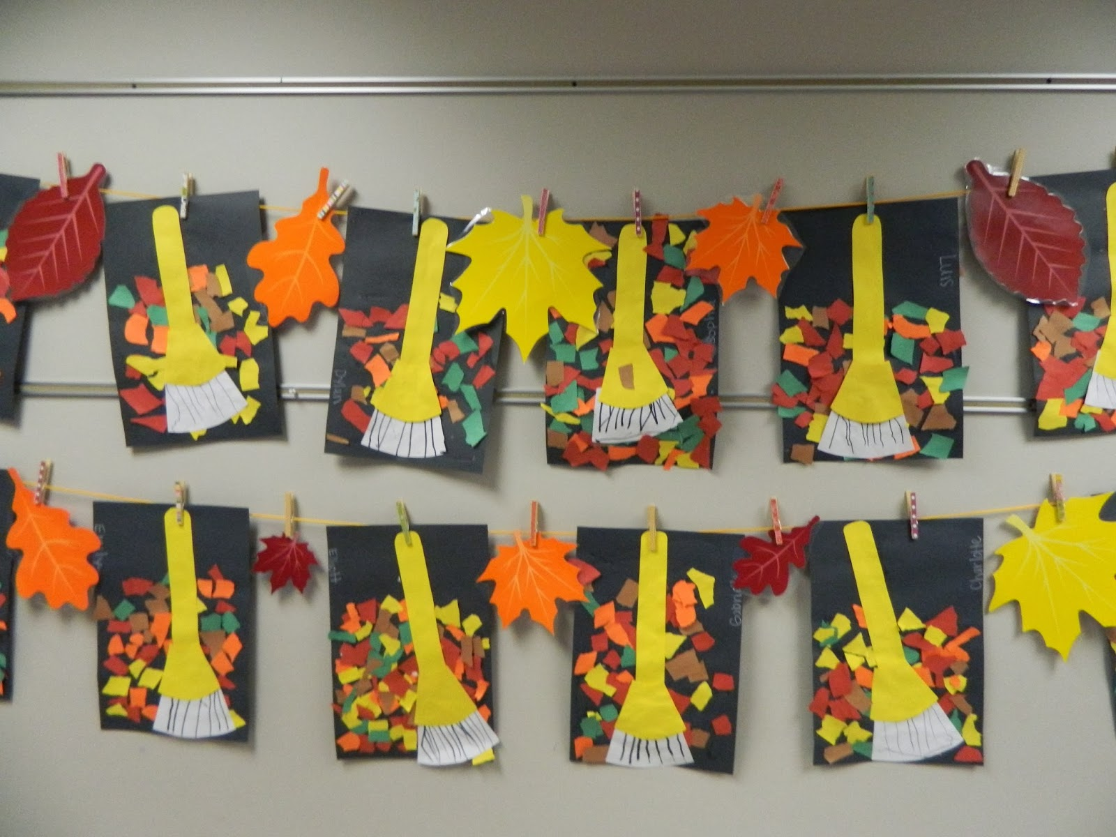 The vintage umbrella rakes and leaves art project for November arts and crafts for daycare