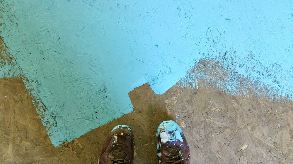 Diy Painted Particle Board Floor Mmmm Teal Dans Le