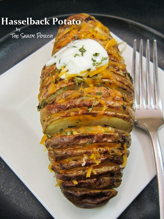 Baked Hasselback Potato with Cheese and Sour Cream