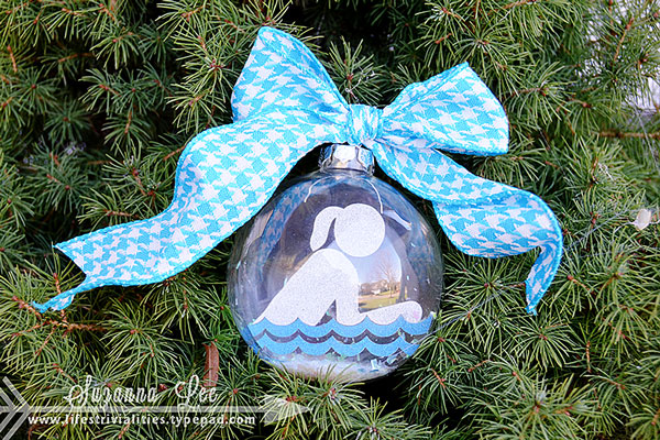 Girl Swimmer Christmas Ornament by Suzanna Lee Guest Designer for 17turtles Digital Cut Files