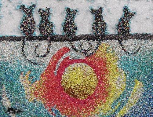 Colored sand painting by Ako Tsubaki