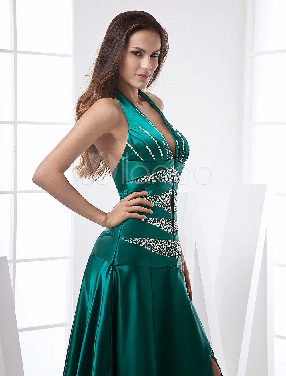 China Wholesale Dresses - Dark Green Halter A-line Satin Prom Dress/Homecoming Maxi Dress
