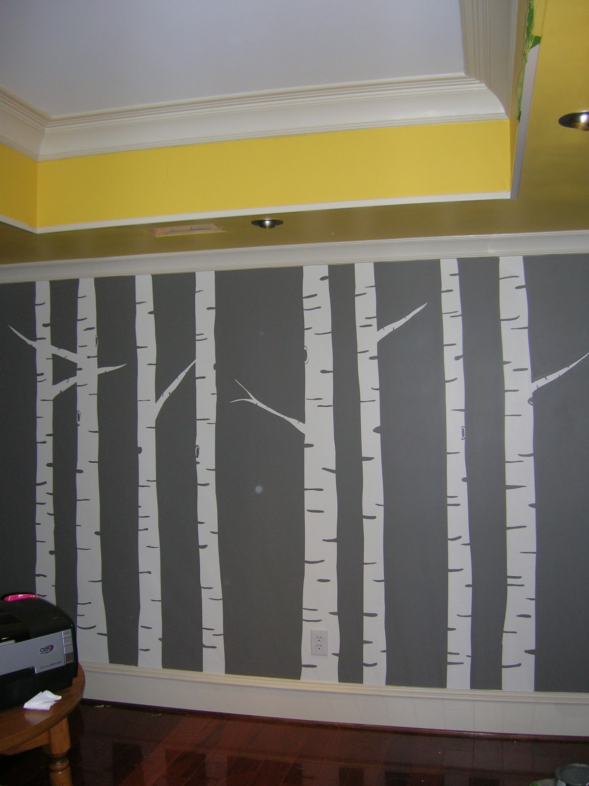 Priss this diy painted birch tree wall forest mural for Diy photo wall mural