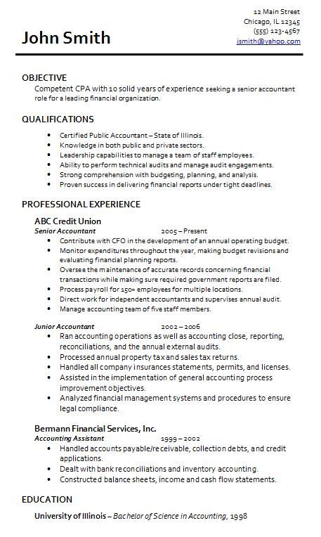 Resume accountant sample