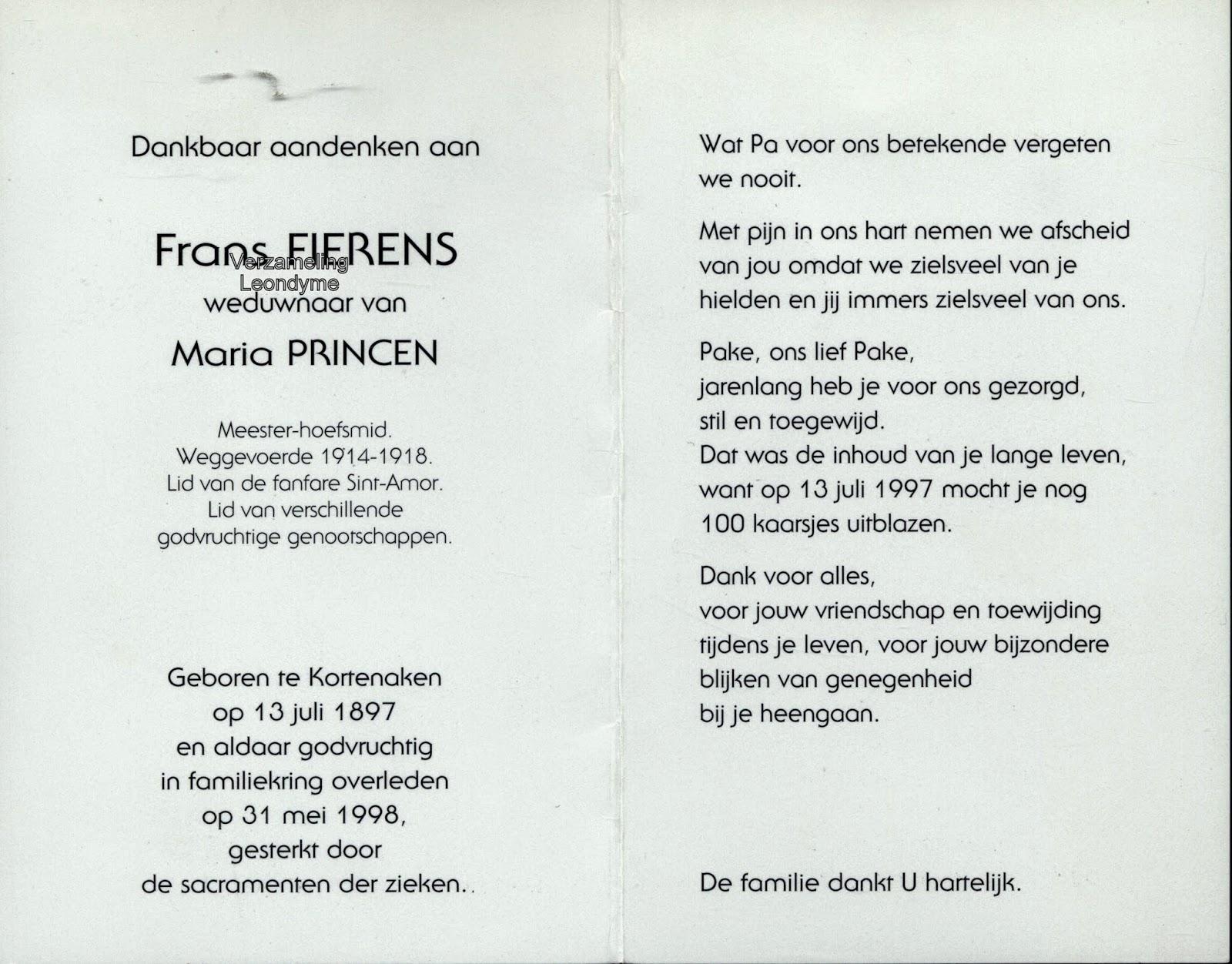 Bidprentje Frans Fierens. Verzameling Leondyme.