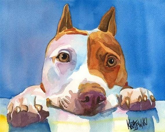 Pit Bull by Ron Krajewski, dog art on Etsy