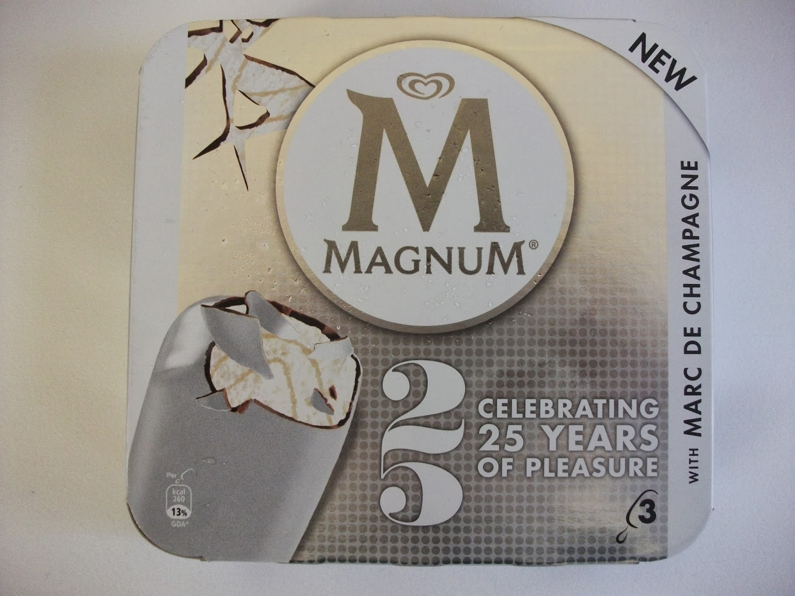 celebrating 25 years of pleasure, the new silver coated marc de champagne flavour Magnum ice cream