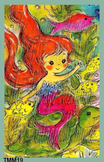 colorful baby mermaid swimming with fish by vintagemermaidsfabricblocks.com
