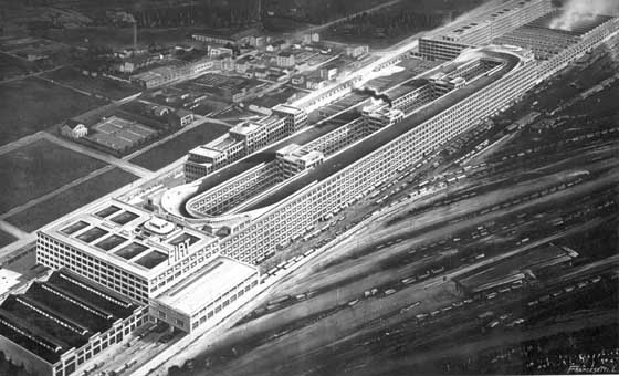 The View of Fiat Lingotto Factory in 1928.