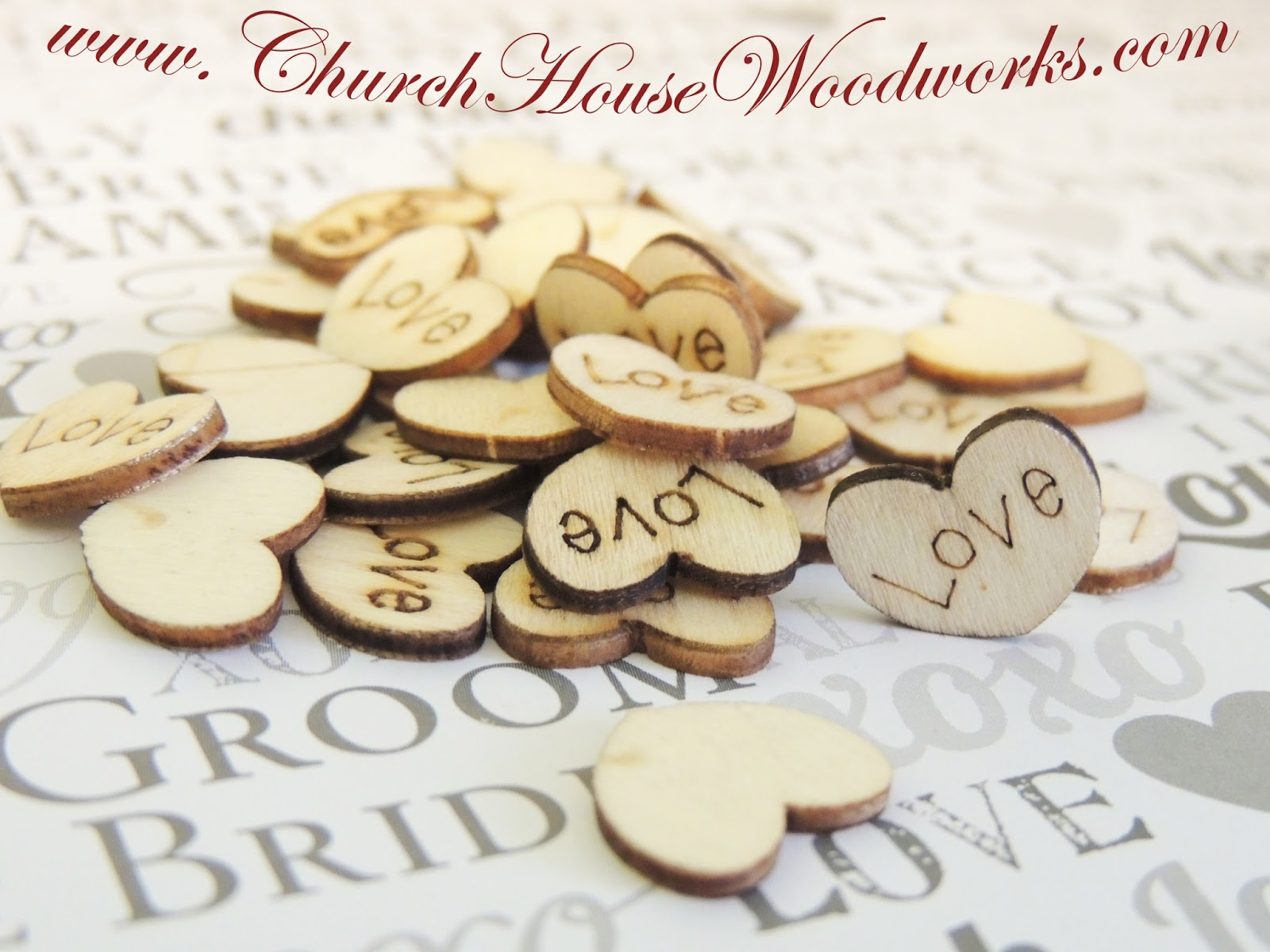 Rustic 4 Weddings Wood Engraved Love Hearts Confetti For