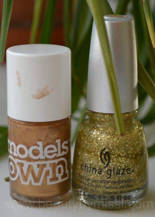 nail polishes used, golden nail polishes