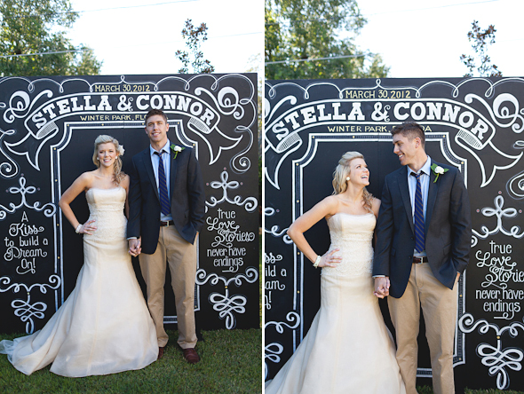 wedding talk chalk board photo booth