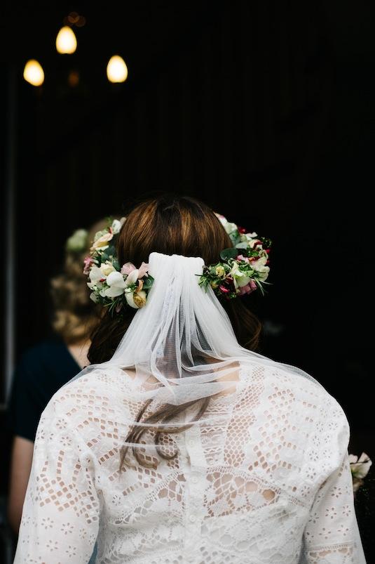 Edwardian lace wedding dress, Heavenly Vintage Brides, close up of veil and floral crown