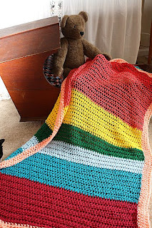 crochet rainbow toddler afghan by JusShar on etsy