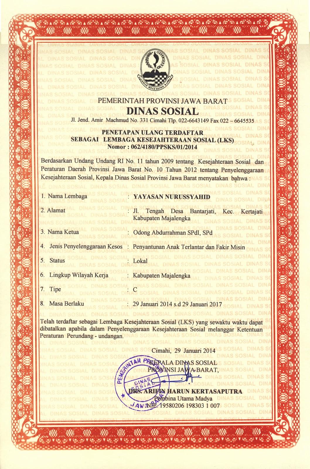 Surat Iizin Operasional Yayasan Nurussyahid Dari Dinas