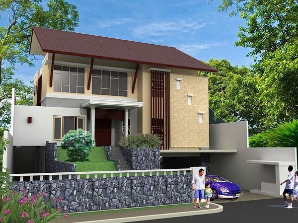 Desain Rumah Modern Tropis Minimalis 2 Lantai Interior Bertingkat