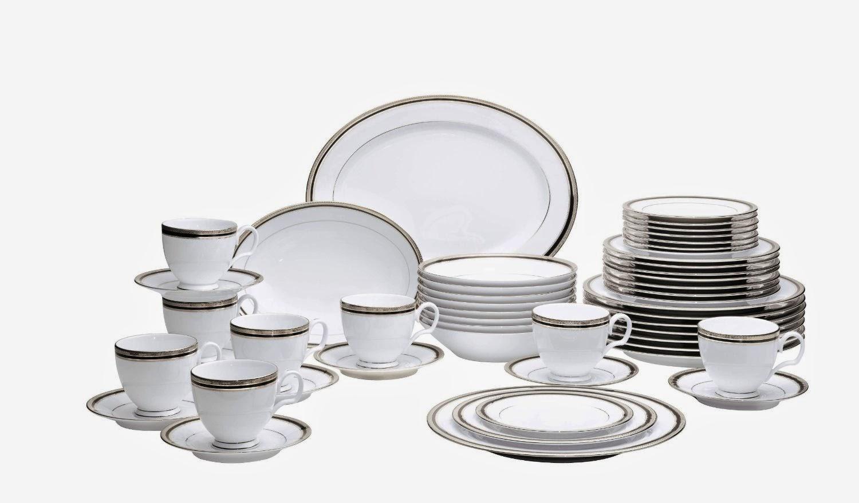 Noritake Austin Platinum 50-Piece Dinnerware Set Service for 8 & Mikasa French Countryside 45-Piece Dinnerware Set Service for 8 ...