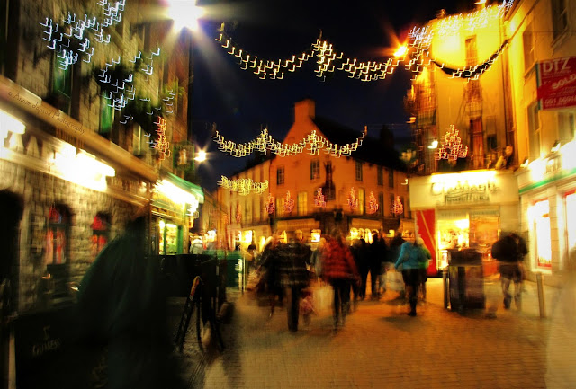 abstract image of Christmas decorated streets of Galway, Ireland