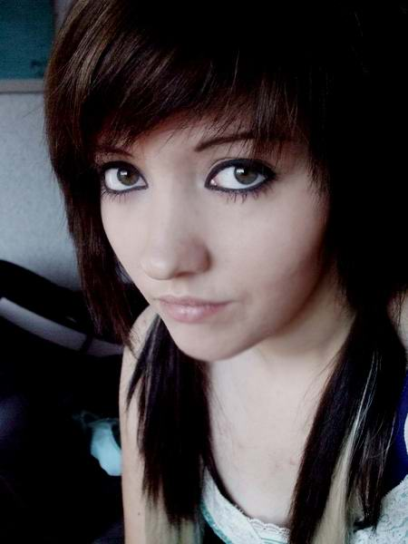 cute face with long emo hairstyles