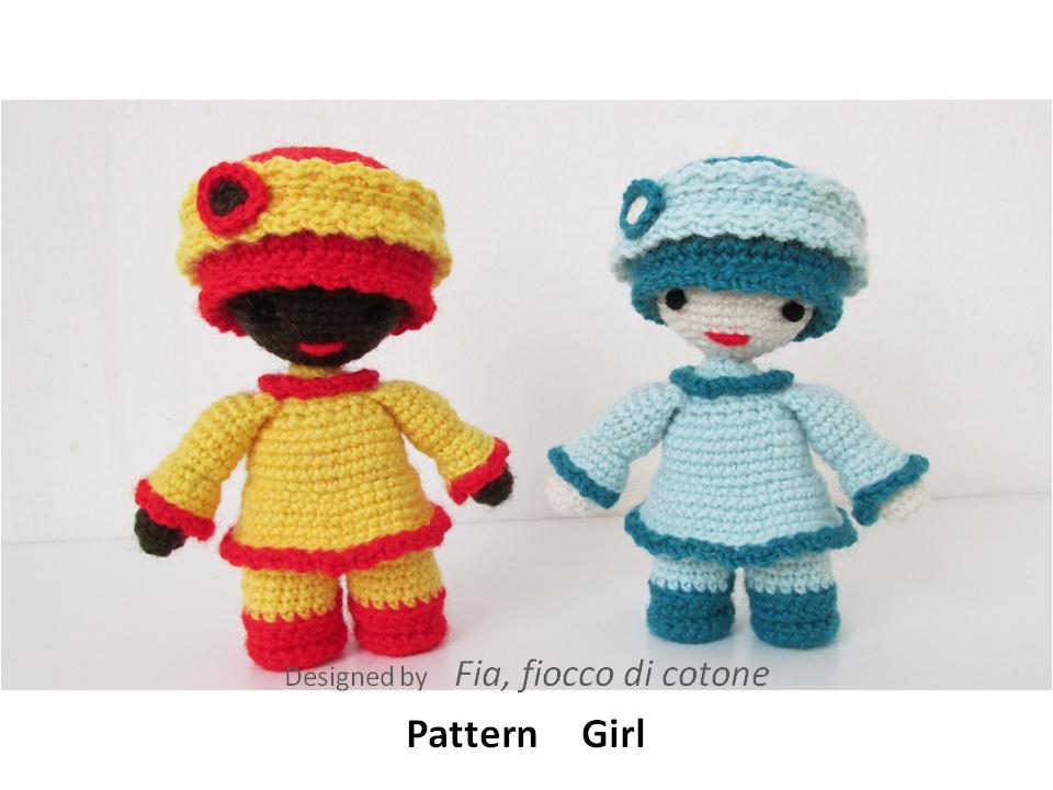 Miniature Amigurumi Doll : Fia fiocco di cotone pattern girl miniature doll amigurumi