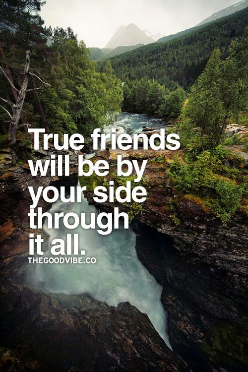 """True friends will be by your side through it all."" ~ Unknown; Picture of a waterfall in the forest. thegoodvibe.co"
