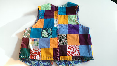 Back of patchwork waistcoast for molly and morris dancing